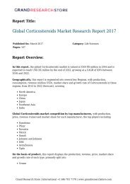 Global Corticosteroids Market Research Report 2017