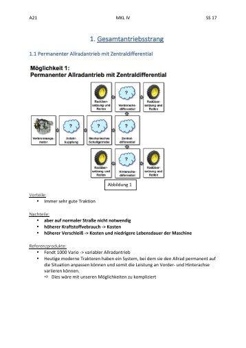 Gesamtkonzept (Rahmen,Dämpfung, Zapfwelle)