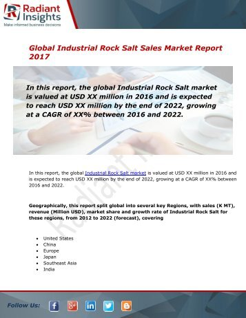 Industrial Rock Salt Sales Market Size, Share, Trends, Analysis and Forecast Report to 2022:Radiant Insights, Inc