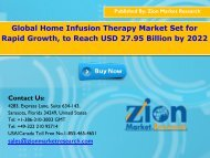 Global Home Infusion Therapy Market, 2016 – 2022