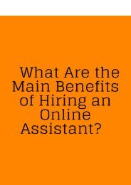 What is the Main Benefits of Hire Online Assistant?