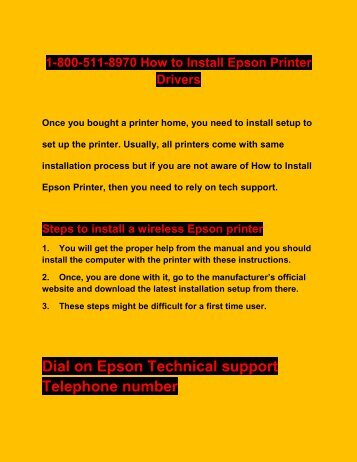 1-800-511-8970 How to Install Epson Printer Drivers