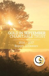 G9 2016 Report to Donors