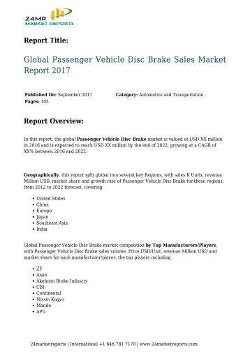 Passenger Vehicle Disc Brake Sales Market Report 2017