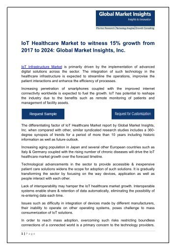 IoT Healthcare industry analysis research and trends report for 2017-2024