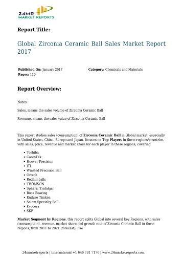 Zirconia Ceramic Ball Sales Market Report 2017