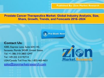 Global Prostate Cancer Therapeutics Market, 2016–2024