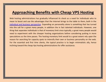 Approaching Benefits with Cheap VPS Hosting