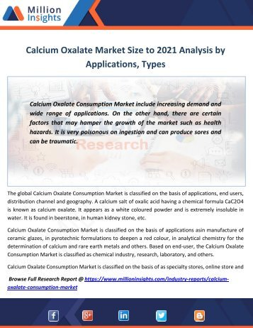 Calcium Oxalate Market Size to 2021 Analysis by Applications, Types