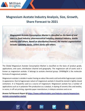 Magnesium Acetate Industry Analysis, Size, Growth,Share Forecast to 2021