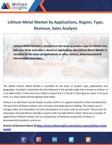 Lithium Metal Market by Applications, Region, Type, Revenue,Sales Analysis