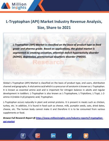 L-Tryptophan (API) Market Industry Revenue Analysis, Size, Share to 2021