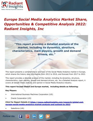 Europe Social Media Analytics Market Share, Opportunities & Competitive Analysis 2022 Radiant Insights, Inc
