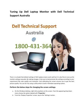 Tuning Up Dell Laptop Monitor With Dell Technical Support Australia