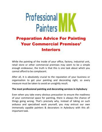 Preparation Advice For Painting Your Commercial Premises' Interiors