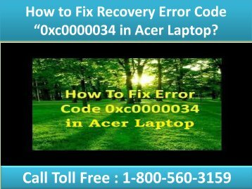 """Fix Recovery Error Code """"0xc0000034 in Acer Laptop 18005603159"""