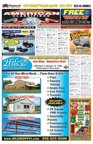 American Classifieds Oct. 5th Edition Bryan/College Station