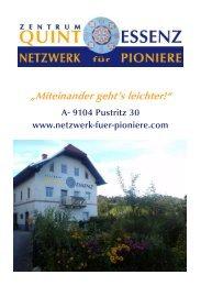 Zentrum Quintessenz, Netzwerk für Pioniere - Basisinformationen 2016