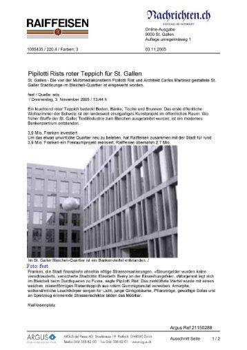 Pipilotti Rists roter Teppich für St. Gallen - Raiffeisen