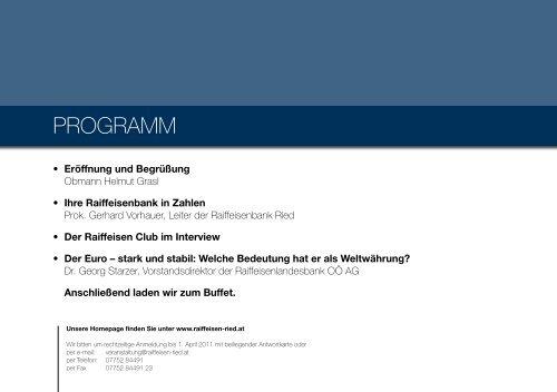Einladung - Raiffeisenbank Region Ried