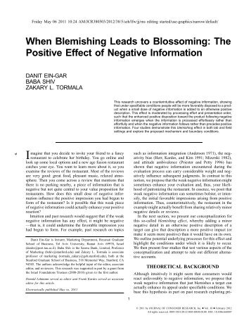 The Positive Effect of Negative Information