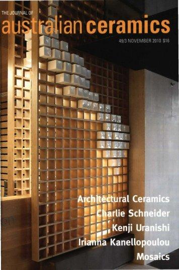 The Journal of Australian Ceramics Vol 49 No 3 November 2010