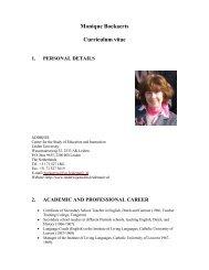 Monique Boekaerts Curriculum vitae 1. PERSONAL DETAILS