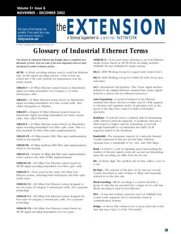 Glossary of Industrial Ethernet Terms - Contemporary Controls