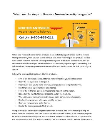 What are the steps to remove Norton Security programs,swati