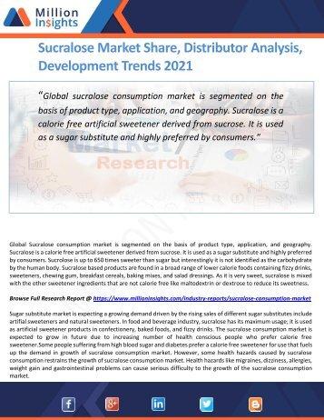 Sucralose Market Share, Distributor Analysis, Development Trends 2021