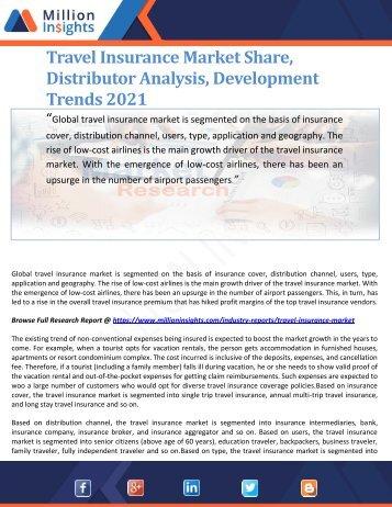 Travel Insurance Market Share, Distributor Analysis, Development Trends 2021