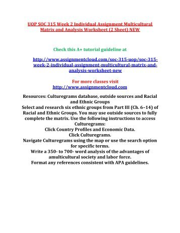 multicultural matrix and analysis worksheet Resources: culturegrams database (provides some information) use library to research additional information or (see sociology text in student reso.