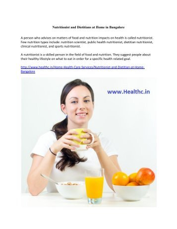Nutritionist and Dietitians at Home in Bangalore
