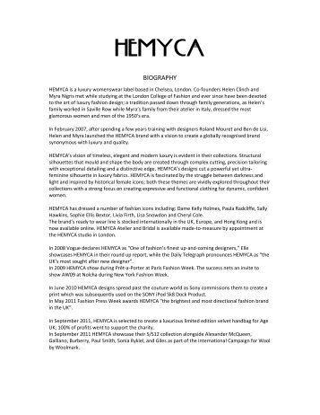 HEMYCA - London Fashion Week