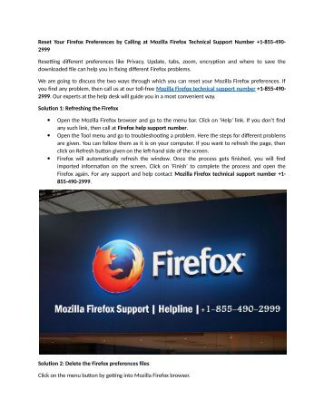 Reset Your Firefox Preferences by Calling at Mozilla Firefox Technical Support Number +1-855-490-2999
