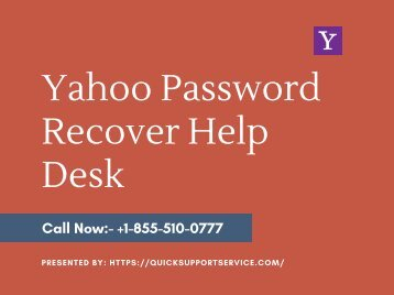 Yahoo Password Recover Help Desk