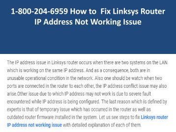 1-800-204-6959 Fix Linksys Router IP Address Not Working Issue