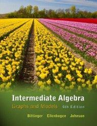 Intermediate Algebra Graphs and Models 4th ed