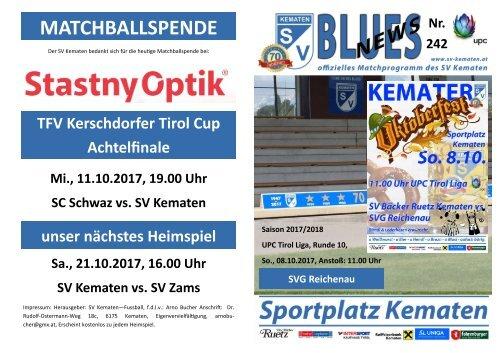 Blues News 242: Oktoberfest 2017 und Heimspiel gegen SVG Reichenau