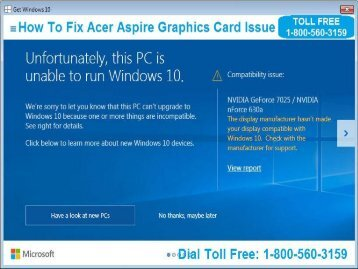 Fix Acer Aspire Graphics Card Issue 18005603159