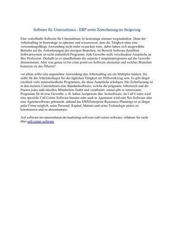 Software für Unternehmen - ERP sowie Zeiterfassung im Steigerung