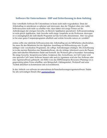 Software für Unternehmen - ERP und Zeiterfassung in dem Aufstieg