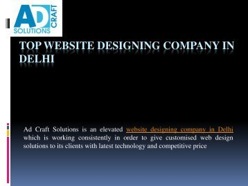 Best Website Design Services in Delhi- Ad Craft Solutions