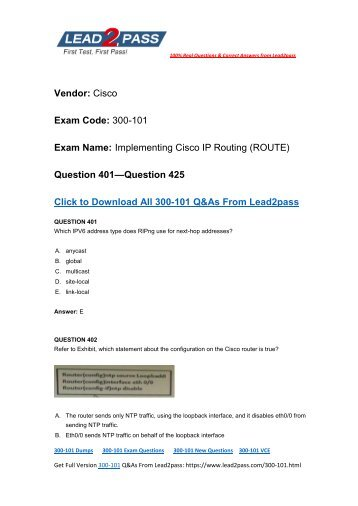 New Lead2pass 300-101 Dumps PDF Version Released For Free Downloading (401-425)