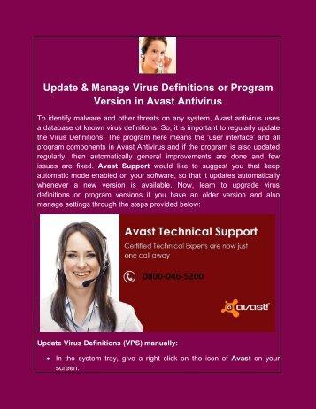 Update & Manage Virus Definitions or Program Version in Avast Antivirus