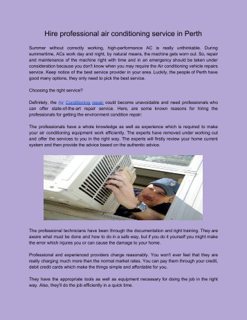 Air Conditioning Service in Perth