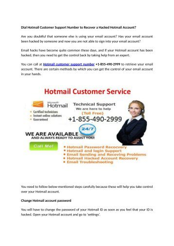 Dial Hotmail Customer Support Number 1-855-490-2999 to Recover a Hacked Hotmail Account