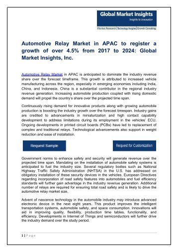 Automotive Relay Market Share, Trends, Growth and Industry Assessment, 2017 - 2024