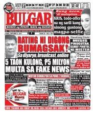 OCTOBER 9, 2017 BULGAR: BOSES NG PINOY, MATA NG BAYAN