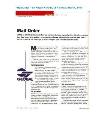 """Mail Order "" By Nilesh Kakade, LFY Bureau March ... - GTL Limited"